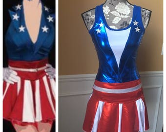 CAPTAIN USA Showgirl Inspired Running costume outfit skirt/tank top halloween