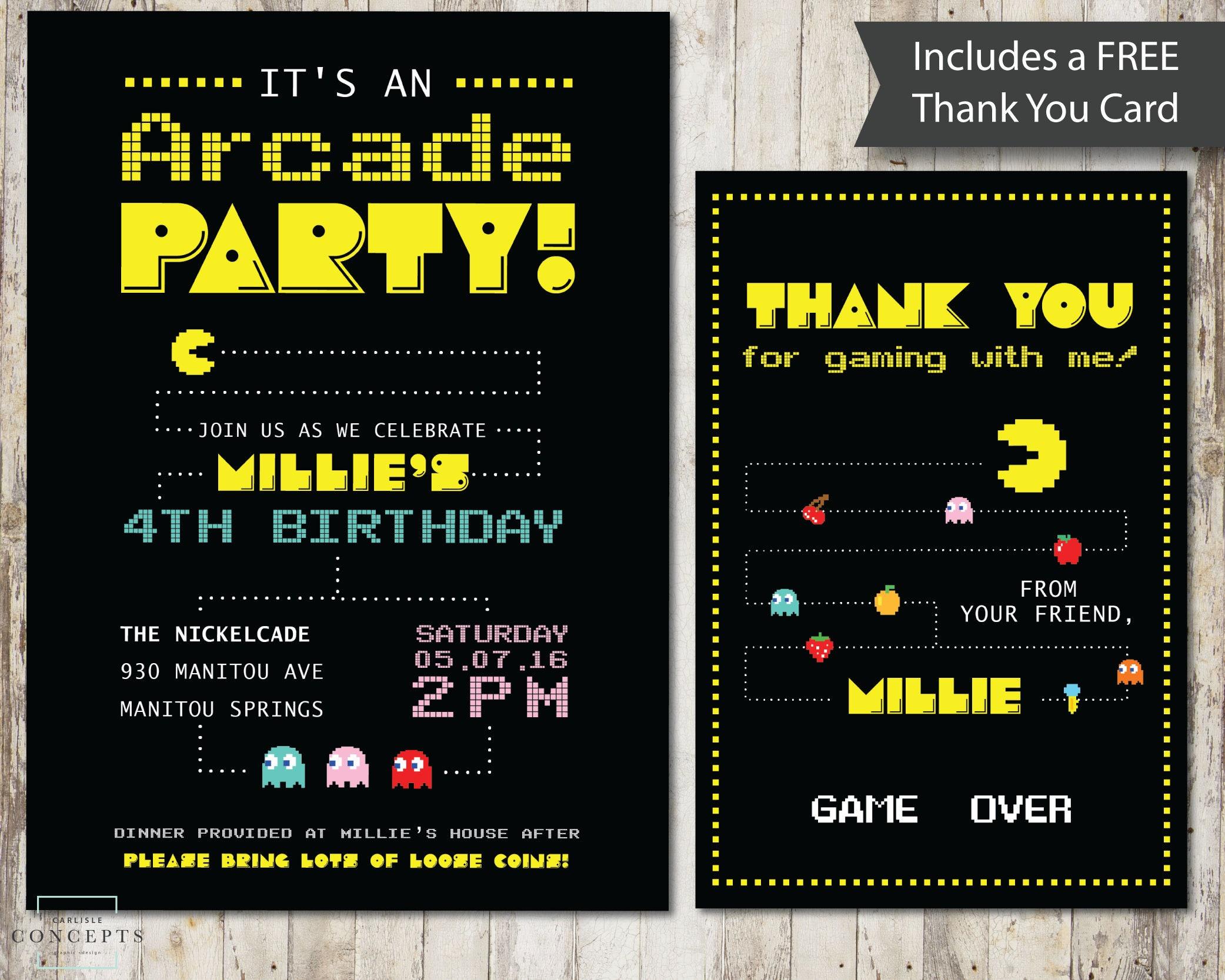 DIGITAL Arcade Birthday Party Invitation Pacman Birthday