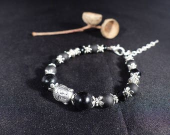 Ethno-chic bracelet ~ Buddha ~ Bracelet black beads and metal Buddha bead