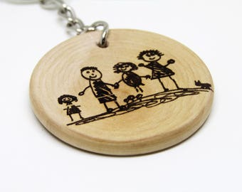 Kids Child Drawing Picture Personalised Wooden Keyring Gift Fathers Day Mothers Day Dad