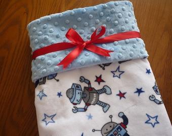 Minky Baby Blanket...robot baby blanket...baby boy blanket..personalized baby blanket..baby boy bedding...stroller blanket..baby blanket