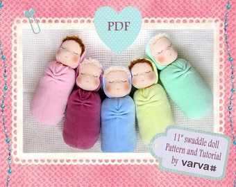"""DIY, PDF sewing pattern and tutorial of a 11"""" (27 cm) waldorf swaddle sleeping doll."""