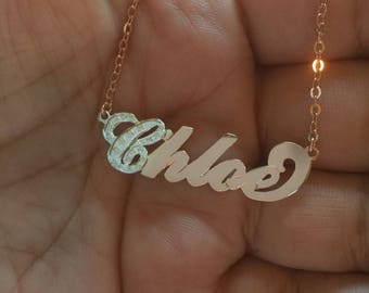 Carrie Name necklace with CZ two tone necklace bridesmaid gift any name necklace nameplate two tone necklace