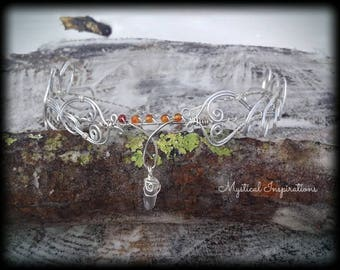 The Maiden  Silver with Agate Headpiece Headdress Crown Tiara