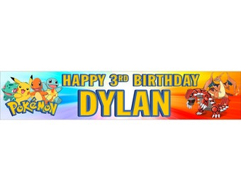 2 x Pokemon Personalised Birthday Banner, custom, party,