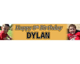 2 x Gold Black Photo Personalised Birthday Banner, custom, party,