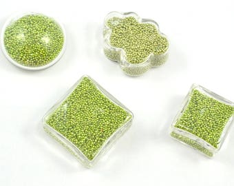 Set of 4 glass globes filled with micro green bead