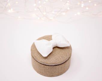 Rustic burlap and white silk wedding ring box.