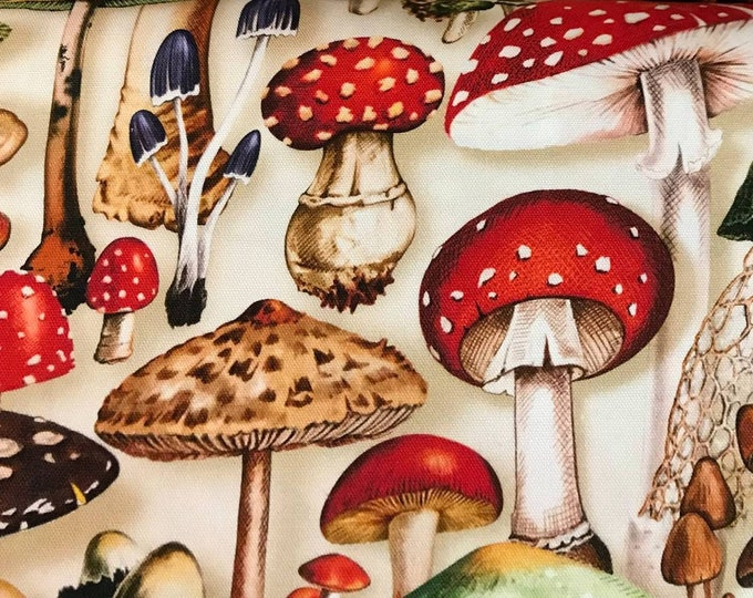 Cosmo - Digitally Printed Mushrooms Natural - Cotton Oxford