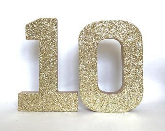 Silver Gold Glitter 10th Birthday - 10 -Anniversary -Stand Up Paper Mache -Party Decor -Photo Prop -Decoration -Glam -Decade - CUSTOMIZABLE