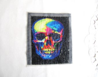Xray Skull Patch,Printed Skull Applique,Scan Sequin Skull patch,Printed Skull with Sequin