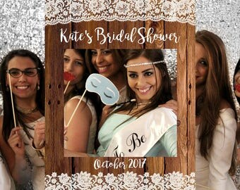 FREE 5 Day SHIPPING - Bridal Shower Photo Booth Frame, Rustic Bridal Shower Photo Prop, Wedding Photo Prop Printable, Photo Booth Frame