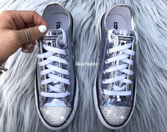 Women's Bling Iridescent Converse Chuck Taylor Ox Casual Shoes Customized with Swarovski Crystals