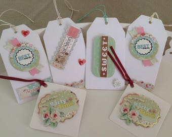 Set of 6 pastel themed gifts tags labels