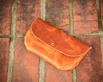 Horween English Tan clutch with solid brass button stud enclosure