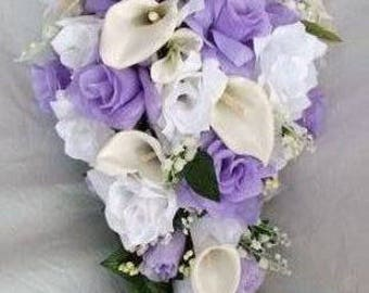 Wedding bridal bouquet  lavender and white  made of callas and roses 3 pieces groom and toss bouquet free
