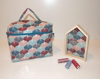 Toiletry bag, vanity cotton coated in blue, Burgundy and salmon