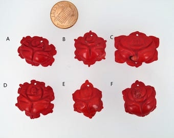 Red coral flower pendant. Carved coral. Rose flower pendant. Red coral