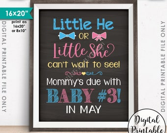 """Baby #3 due in MAY, Little He or Little She Can't Wait to See Pregnancy Announcement Chalkboard Style PRINTABLE 8x10/16x20"""" Instant Download"""