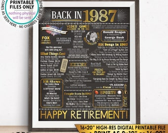 "Retirement Party Decorations, Back in 1987 Poster, Flashback to 1987 Retirement Party Decor, Chalkboard Style PRINTABLE 16x20"" Sign <ID>"