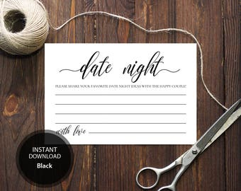 INSTANT DOWNLOAD 4x6 Date night ideas for bride and groom card Advice for the happy couple calligraphy Printable Date Ideas Cards #DP110_14