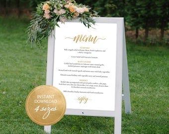 Editable PDF Wedding Menu Sign Gold Wedding Menu Board Calligraphic Wedding Menu Poster Instant download sign DIY Printable Sign #DP130_20