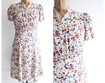 Vintage 1940's Silk Floral Dress tea dress silk flower forties goodwood revival UK 8 lindy 40's original true vtg ww2 pinup
