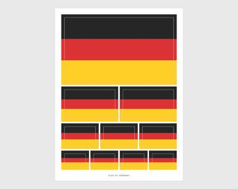German Flag Weatherproof Sticker Sheet / 10 Flag Stickers Various Sizes
