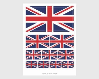 United Kingdom Flag Weatherproof Sticker Sheet / 10 Flag Stickers Various Sizes