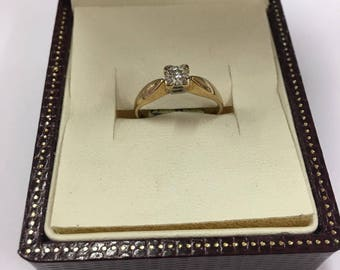 Vintage 9ct Yellow Gold Diamond Solitaire Engagement Ring Size M