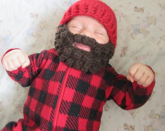 Baby Beard Hat for infant. 0-3 months Woodsman Beanie. Baby Woodsman hat. Can do any size/color. Lumberjack hat