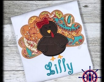 Girl's Turkey Applique Shirt,  Girl's Thanksgiving Applique Shirt,  Thanksgiving Applique Shirt, Girl's Fall Applique Shirt