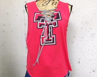 MEDIUM - TEXAS TECH - College Football - Lace Up Shirt - Lace Up V-Neck - Upcycled - Recycled T-Shirt - Sleeveless