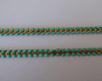 teal green enameled ear chain 20 cm