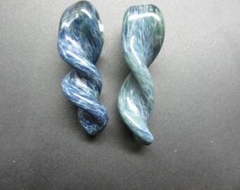 2 piece aqua glass twist pendants