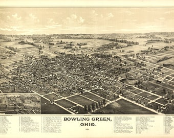 Bowling Green, Ohio Panoramic map from 1888. This print is a wonderful wall decoration for Den, Office, Man Cave or any wall