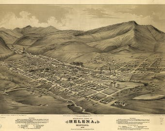Helena Montana Panoramic Map dated 1875. This print is a wonderful wall decoration for Den, Office, Man Cave or any wall.