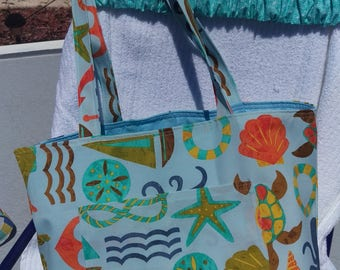 Beach Bag with Turtles Starfish Sailboat