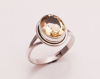 925 Solid Sterling Silver CITRINE Ring