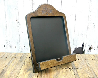 Wood IPad Stand, IPad Holder, Chalkboard, Tablet Holder, Country Kitchen  Decor,