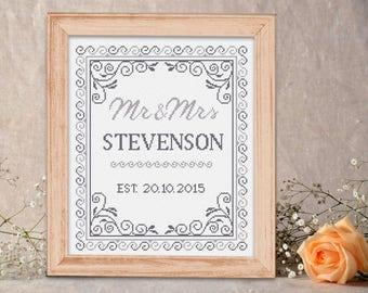 pdf Mr&Mrs Wedding Cross Stitch Pattern/ Personalised Wedding Sampler/ Wedding pattern/ modern cross stitch pattern