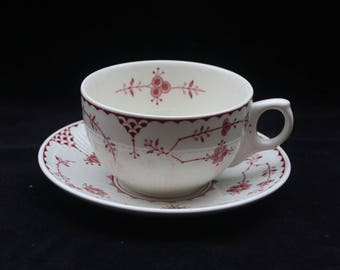 Furnivals Denmark Pink and White Cup and Saucer Duo (Two available)