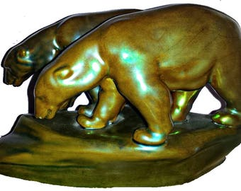 Zsolnay Eosin, Zsolnay polar Bear, Zsolnay Figurine, Zsolnay Animal, Eosin Art