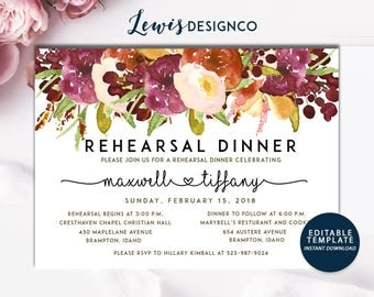 Autumn Floral Rehearsal Dinner Invitation, Fall Wedding Card, Wedding Dinner, Instant Download Editable