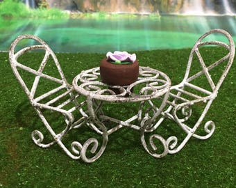 Fairy Garden Table & Chairs (Setting For Two)