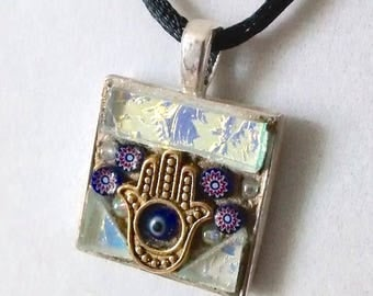 Hamsa, Evil Eye, Protection Amulet, Mystical Mosaic Pendant, PA-19