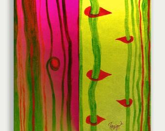 Green, magenta, red, mixed media painting, wall art, wall decor, acrylic glass/plexiglass