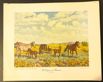 The Poppies and Mommies Ray Strang Vintage NY Graphic Society Lithograph Print