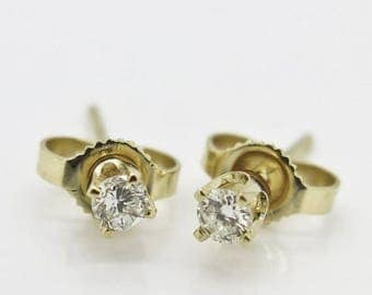 ON SALE Estate .10ctw H-Si Genuine Diamond 14Kt Yellow Gold Stud Wedding Earrings