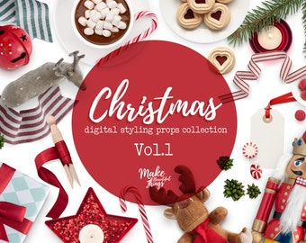 Christmas V.1 / Digital styling props collection / Movable elements / Instant download